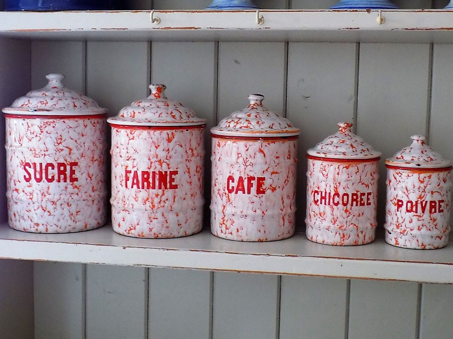 French Vintage Enamel Canisters, Rare Vintage French Enamel Kitchen Storage  Pots, Farmhouse Canisters.