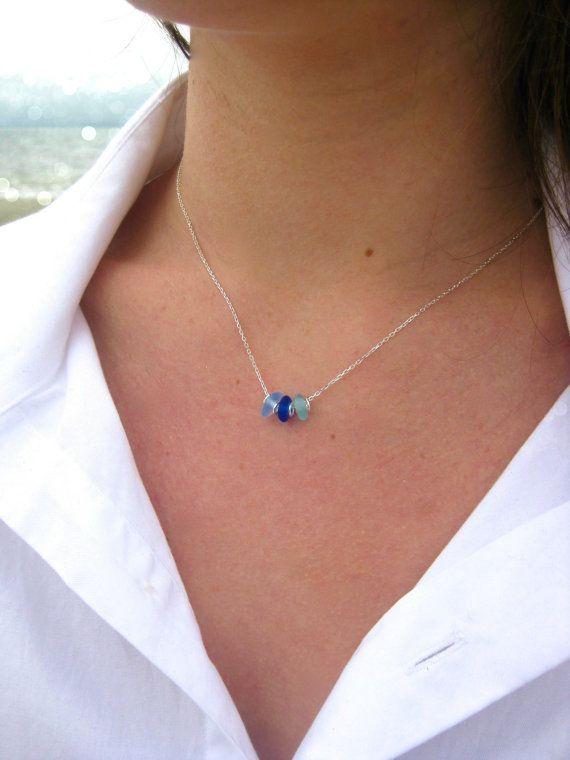 Photo of 3 Stone Sea Glass Necklace | Sea Glass Jewelry | Beach Glass Necklace | Simple Sea Glass Necklace |  Everyday Necklace | Sea Glass Necklace