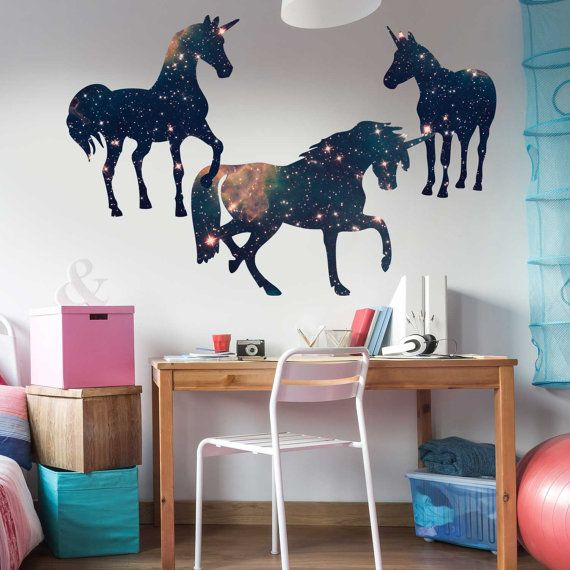 Space Unicorn Wall Decal Set By Chromantics   Unicorn Silhouette Decal