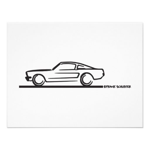 1965 mustang fastback blk personalized invitation