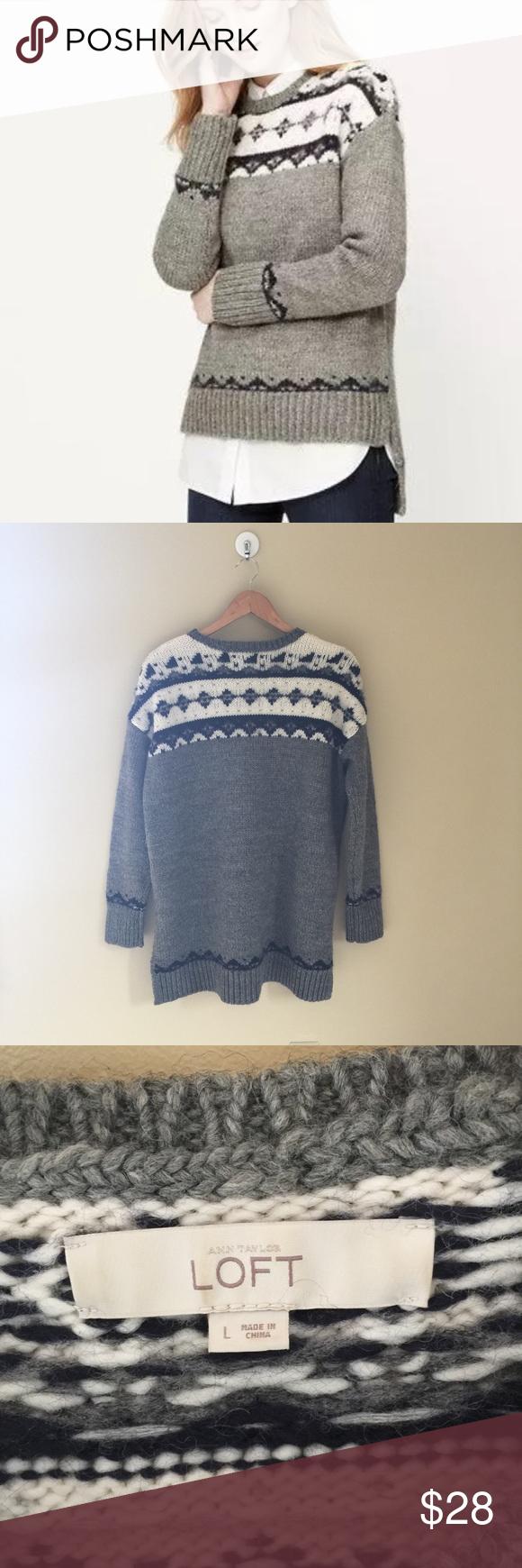 Ann Taylor LOFT slouchy Fair Isle Wool Sweater L | Ann taylor loft ...