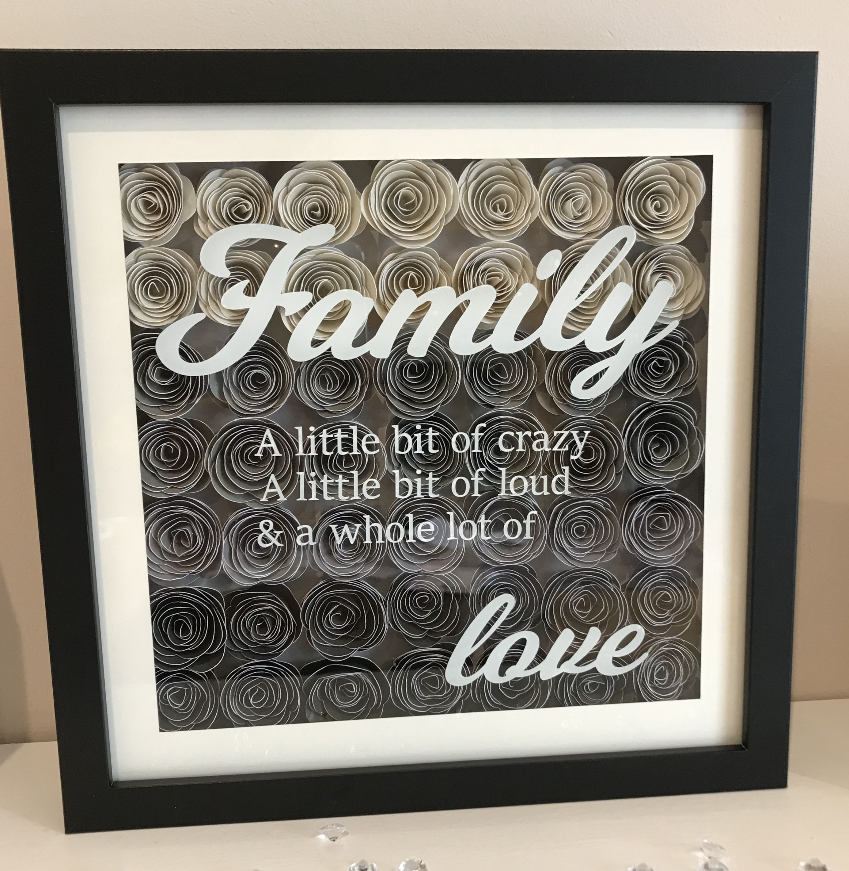 Flower Shadow Box Frame With Family Quote This Time In Shades Of Grey Finished In A Black Frame Flower Shadow Box Shadow Box Frames Shadow Box Art