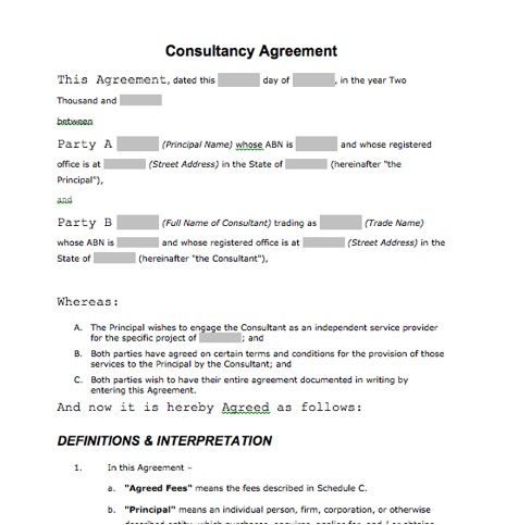An Ozzie Consultancy Agreement  Interesting Document