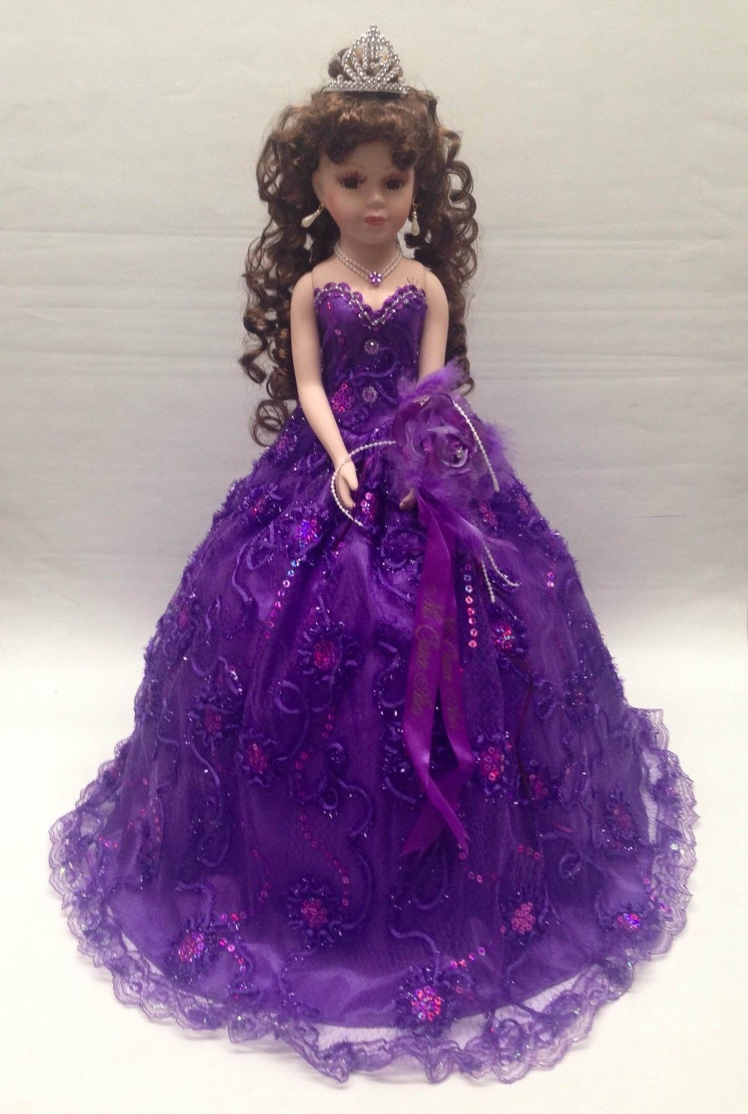 1468c6e34cb NEW Purple 22 inch 15 XV Anos Quinceanera Sequins Dress Porcelain Umbrella  Doll