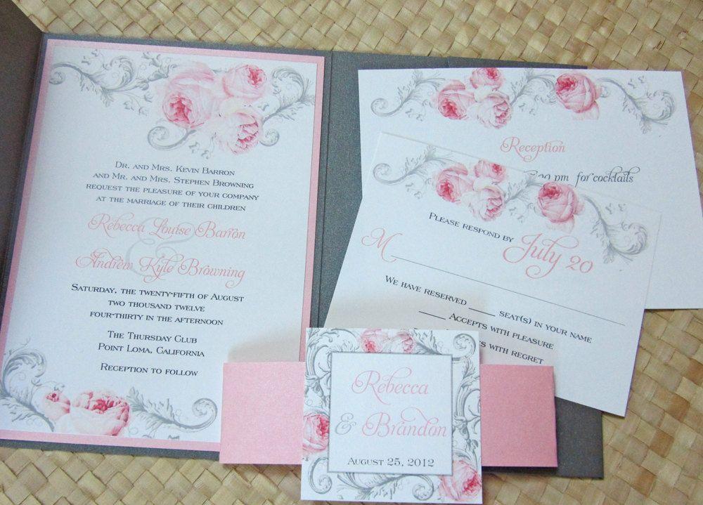 Pocketfold Wedding Invitation In Pink And Gray