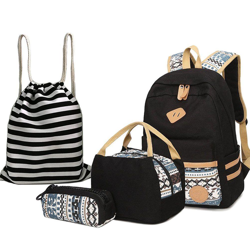 191a034ea4d BAGTOP School Backpack Set - Canvas Teen Girls Bookbags 15
