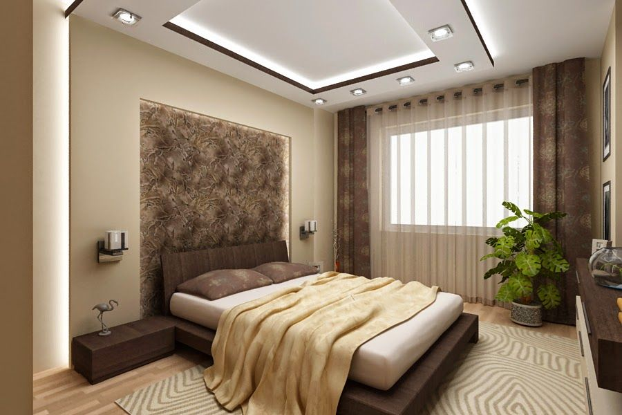 stylish pop false ceiling designs for bedroom 2015 - Brown Bedroom 2015