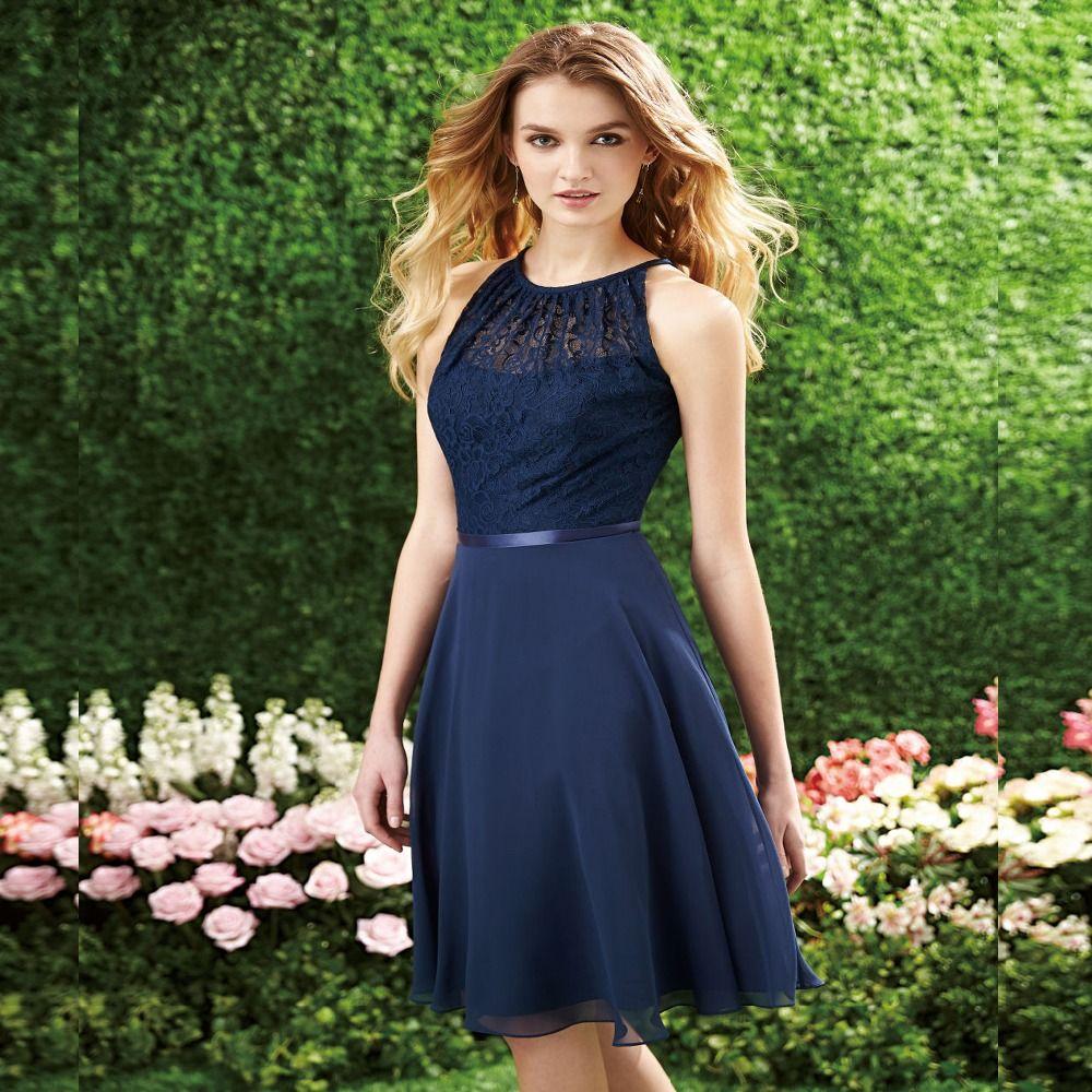 aline halter chiffon bridesmaid dresses with lace short prom