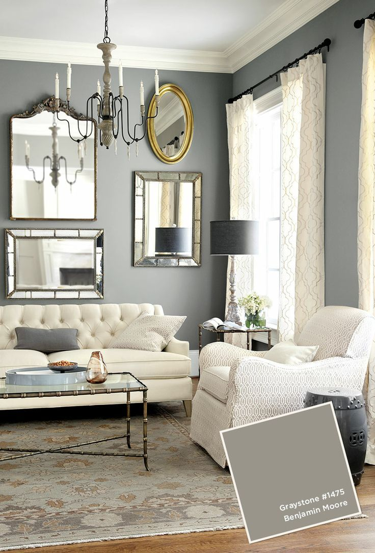 Grey living room paint - in a stylish traditional home | Interior ...