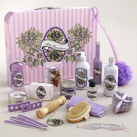 Treat her to a Spa Vacation Getaway in the comforts of her own home with luxurious lavender-scented spa lotions, soaps, scrubs and every accessory needed to relax.