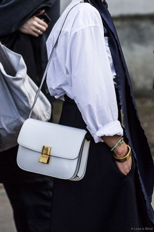 62077cb308 white shirt with rolled up sleeves   white Celine box bag  style  fashion   streetstyle