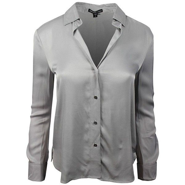 b4b53a40 Amazon.com: James Perse Women's Grey Satin Long Sleeve Shirt Blouse:...  ($80) ❤ liked on Polyvore featuring tops, blouses, satin shirt, long sleeve  satin ...