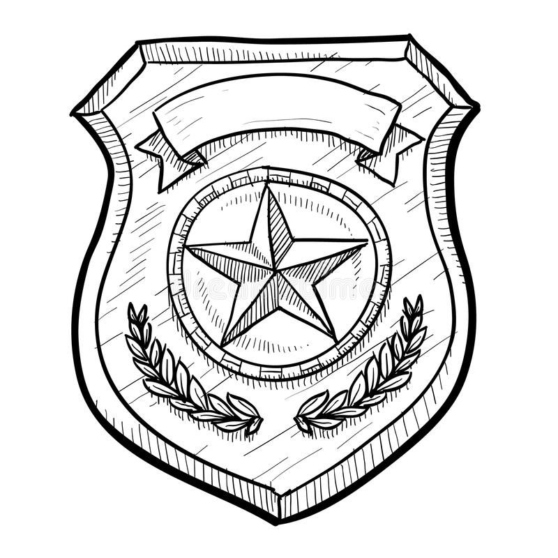 Police Or Security Badge Sketch Doodle Style Police Or Firefighters Badge Vecto Aff Sketch Doodle Style Police Police Badge Security Badge Badge