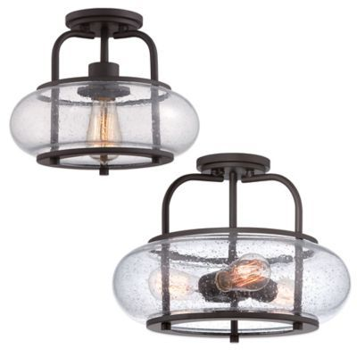 Quoizel Trilogy Semi Flush Mount Light In Bronze With
