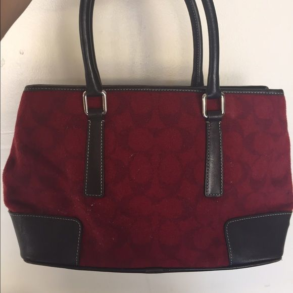 Coach bag Brown leather and red felt coach bag. Coach Bags Satchels