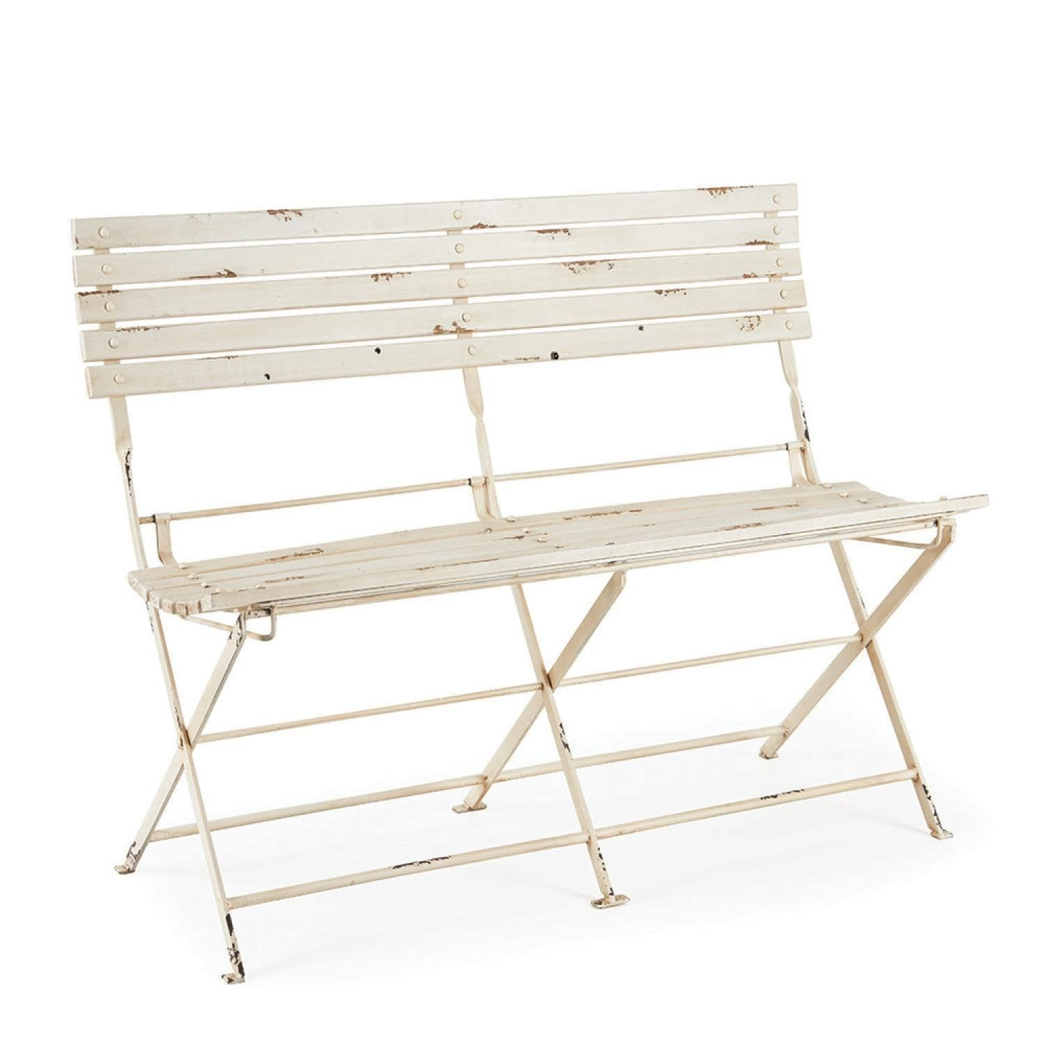50u201d Distressed Antique White Metal Folding Slatted Indoor Garden Bench,  Patio Furniture