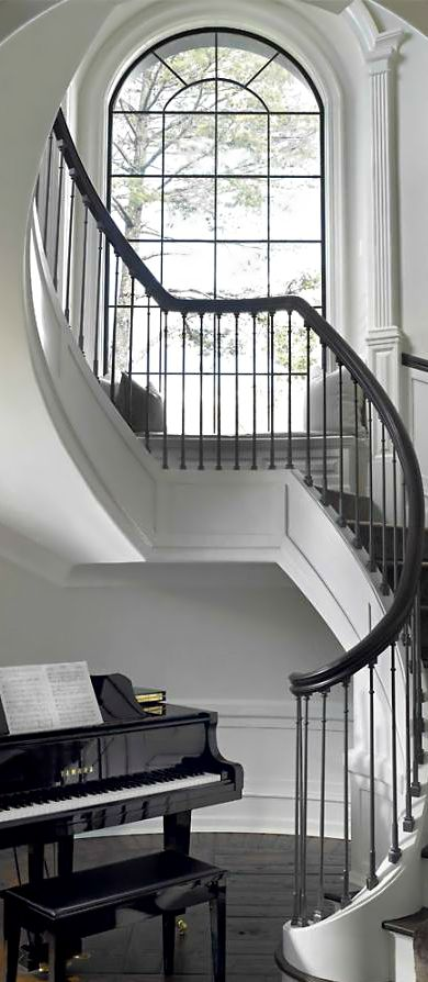 Boutique Foyer Design : Foyer with baby grand piano ♕boutique chic♕ staircase
