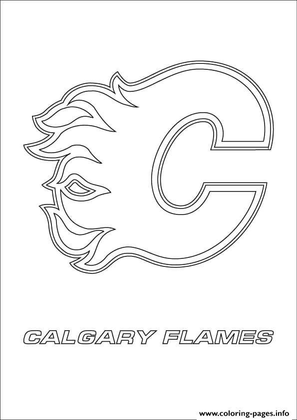Print calgary flames logo nhl hockey sport coloring pages  Kai