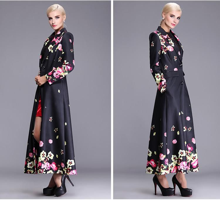 2015 Spring Autumn Women's Trench Coats Polyester Floral Plus Size ...