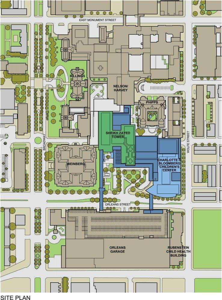 Johns Hopkins Hospital Baltimore, Site Map