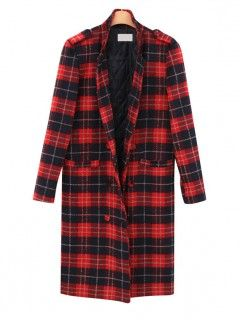 Shop Red Plaid Long Line Winter Coat from choies.com .Free shipping Worldwide.$69.99
