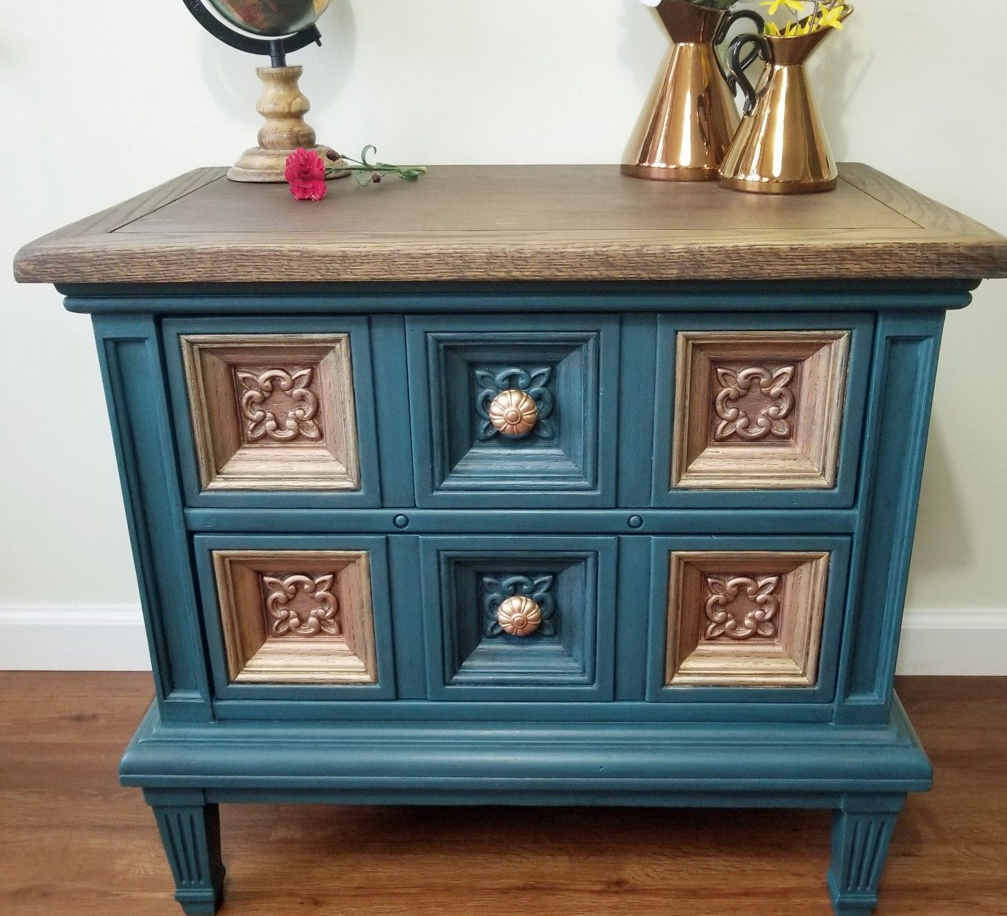 Painted Teal Chalk Paint With Antique Gold Rub N Buff American Of