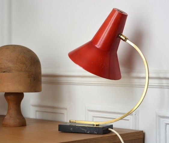 1950s table lamp with red shade / marble base and brass | A Life Before