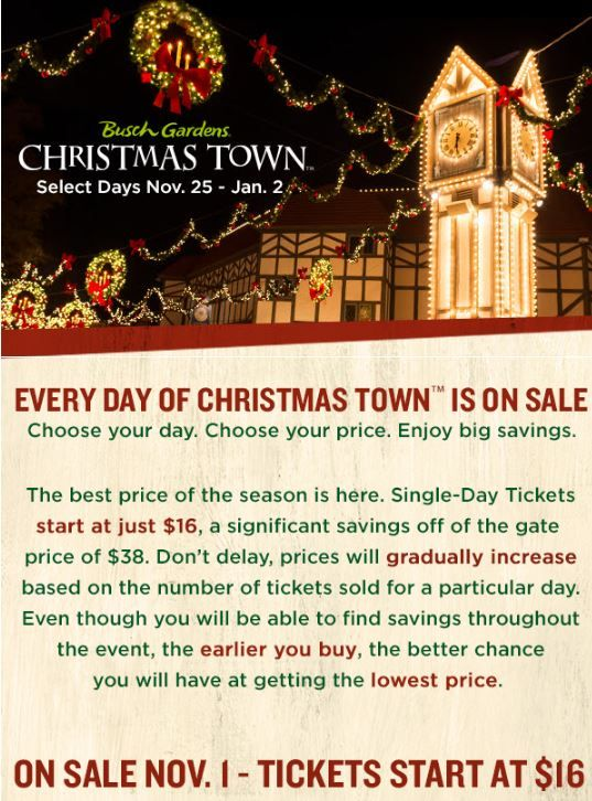 Busch Gardens Christmas Town Tickets With Season Pass
