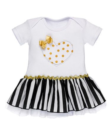 This Black, White & Gold Stripe Heart Bow Skirted Bodysuit - Infant is perfect! #zulilyfinds