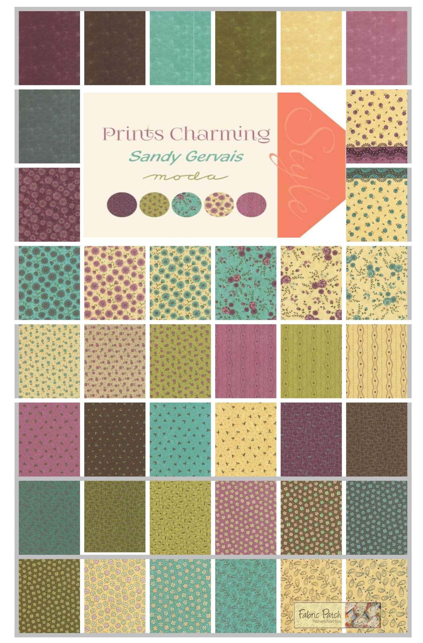 Prints Charming fat quarter bundle by Sandy Gervais for Moda ... : moda quilting fabric - Adamdwight.com