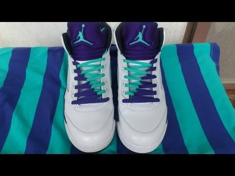best service 64aee 340eb Jordan 5 Grapes Lacing Tutorial - double laces, V-pattern and Criss-cross -  YouTube