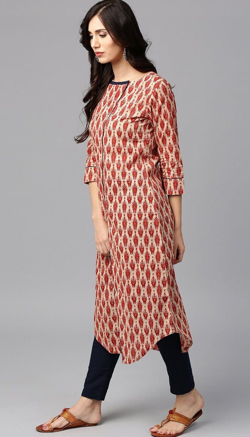 Printed Red Color Kurta With Blue Pants In Cotton Kurta Designs