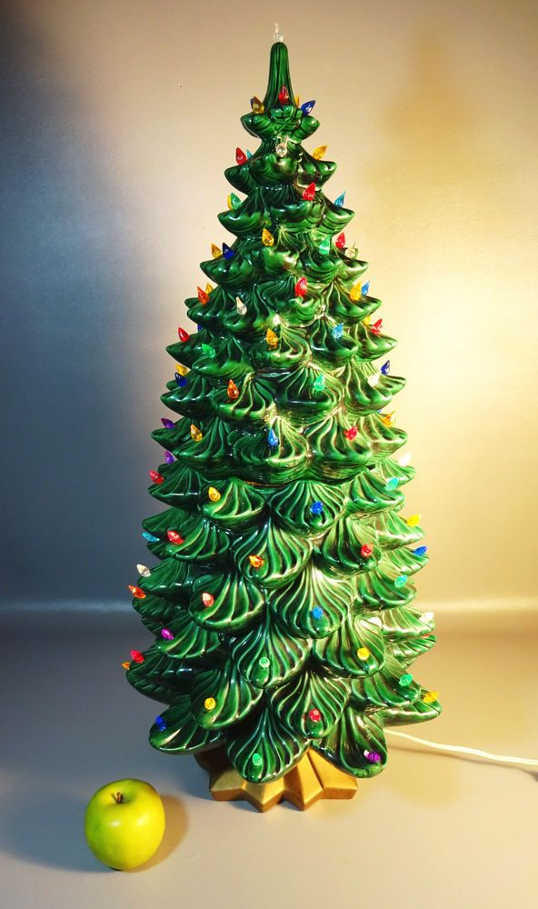 "32"" Tall Ceramic Christmas Tree w/Colored Lights Atlantic Mold Hand Crafted - 32"" Tall Ceramic Christmas Tree W/Colored Lights Atlantic Mold Hand"