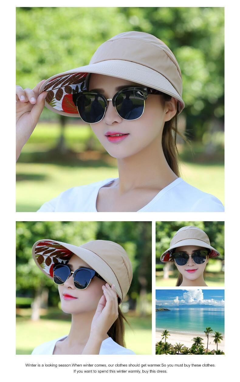 42e336a7913 Summer Hats 2019 1PCS women summer Sun Hats pearl packable sun visor ...