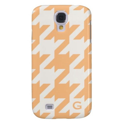Bold modern orange houndstooth with monogram galaxy s4 cases. $44.95 *Tint and beyond*