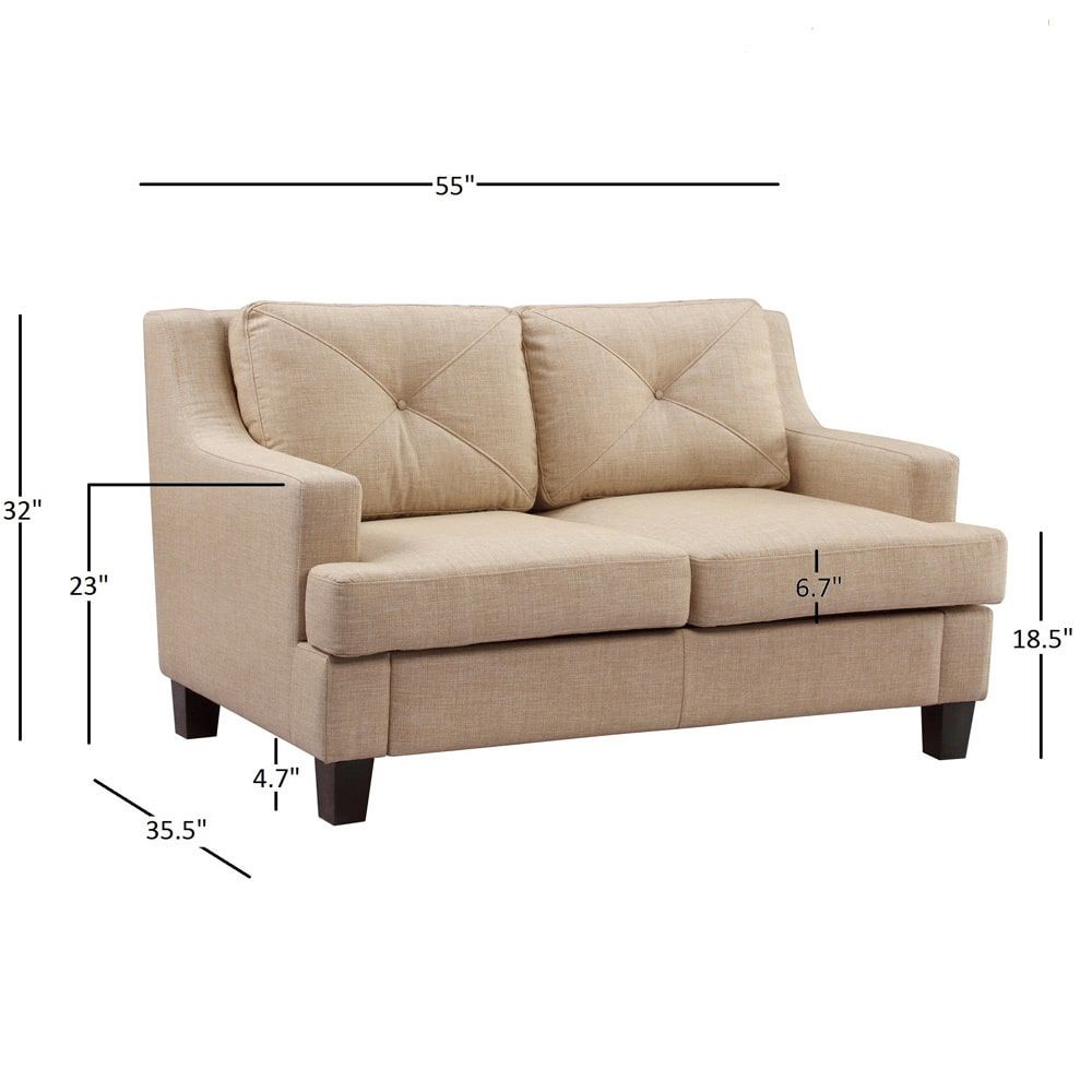 Elston Linen Sloped Track Loveseat by MID-CENTURY LIVING by INSPIRE Q
