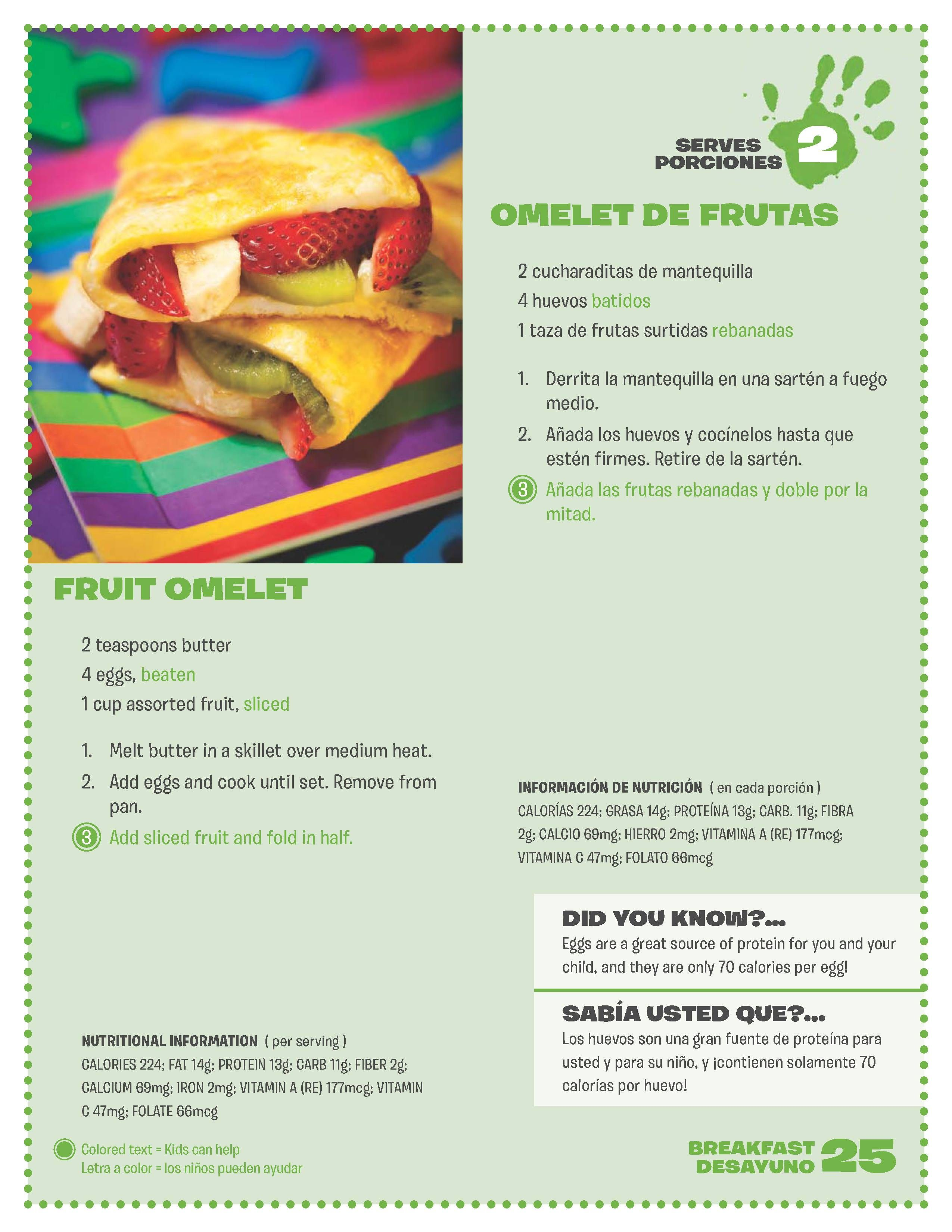 Fruit Omelet Omelet De Frutas Healthy Recipes Food Wic Program
