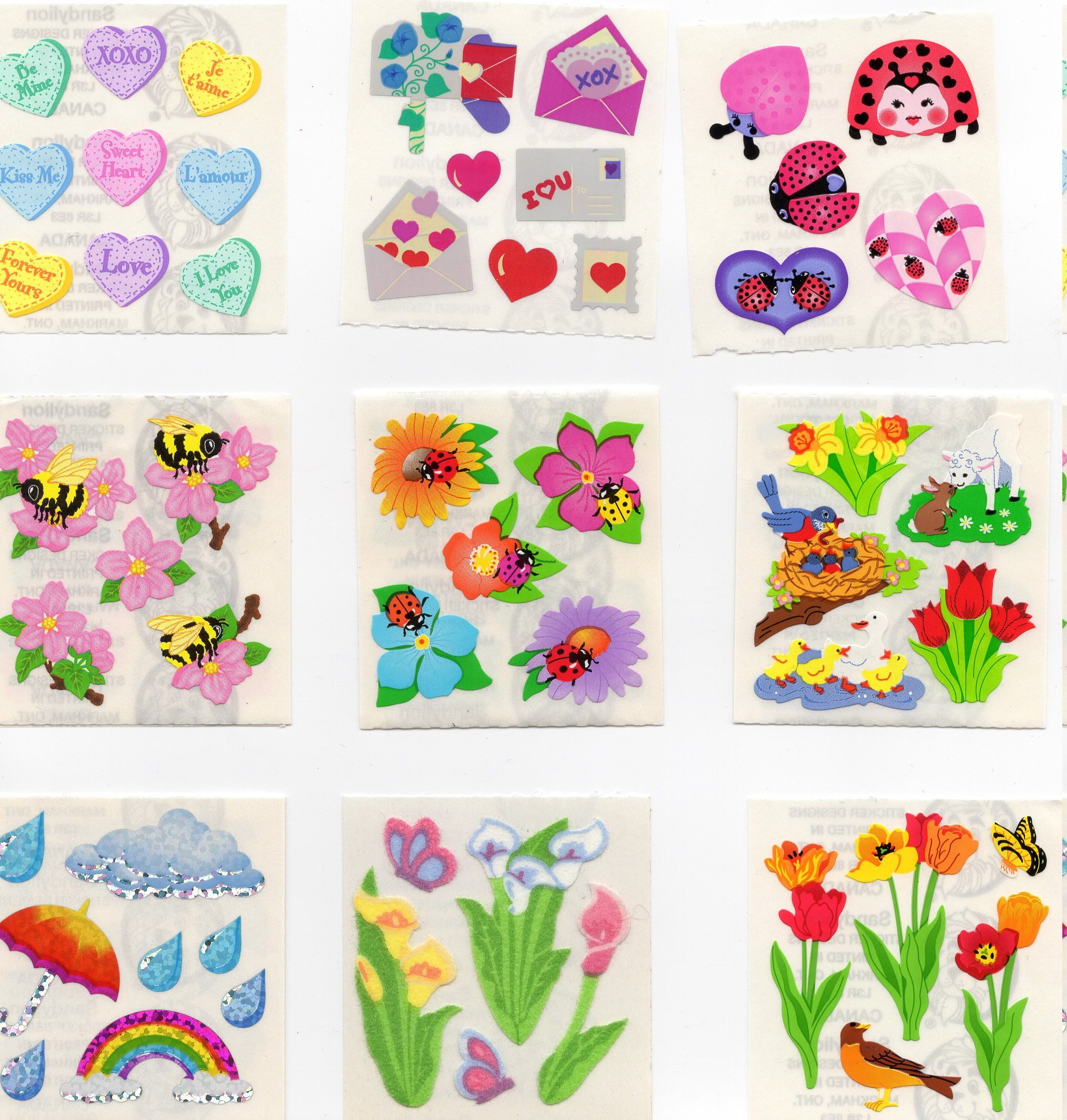 Sandylion balloons Stickers lot of 3 SHEETS 2/'/' X 6/'/'