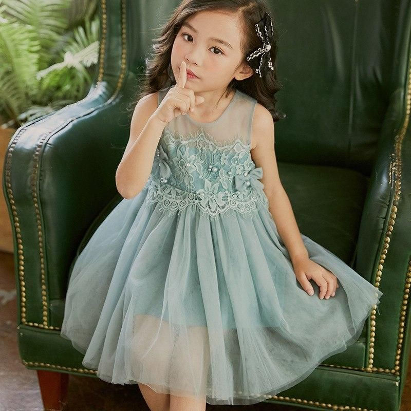 Dusty Blue or Pink Lace & Pearl Dress | Childrens clothing