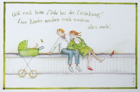 """Christina Thrän   Briefkarte """"Gebt Euch keine Mühe bei der Erziehung"""""""