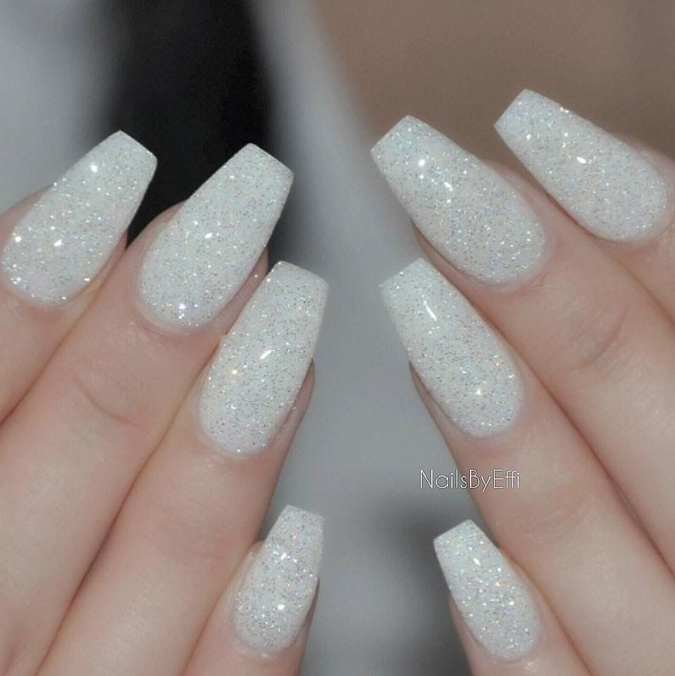 Pin By Owetta Carlisle On Nail Ideas White Glitter Nails White Sparkle Nails White Gel Nails