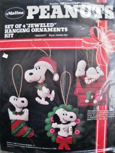 Christmas-Malina-Felt-Applique-Ornament-KIT-SNOOPY-Woodstock-Schulz-Peanuts-8400