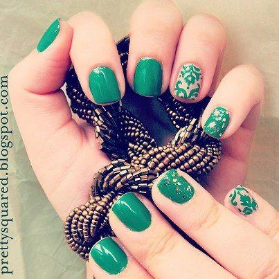 nail art emerald baroque http://prettysquared.blogspot.com/