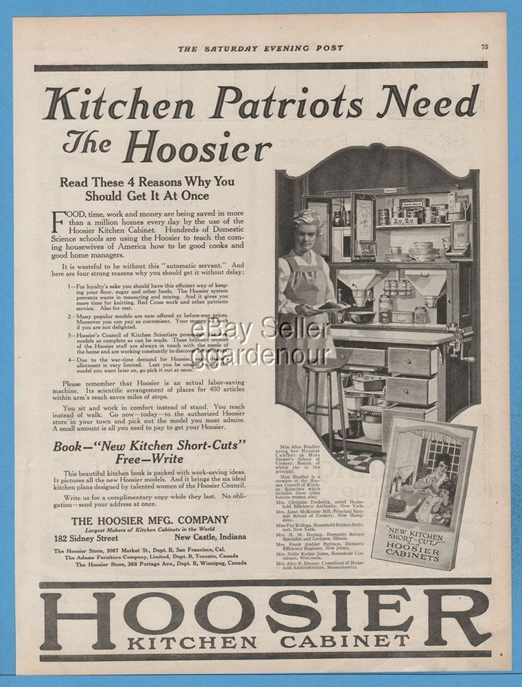 1918 Hoosier Mfg Co New Castle Indiana Kitchen cabinets WWI Patriots ...