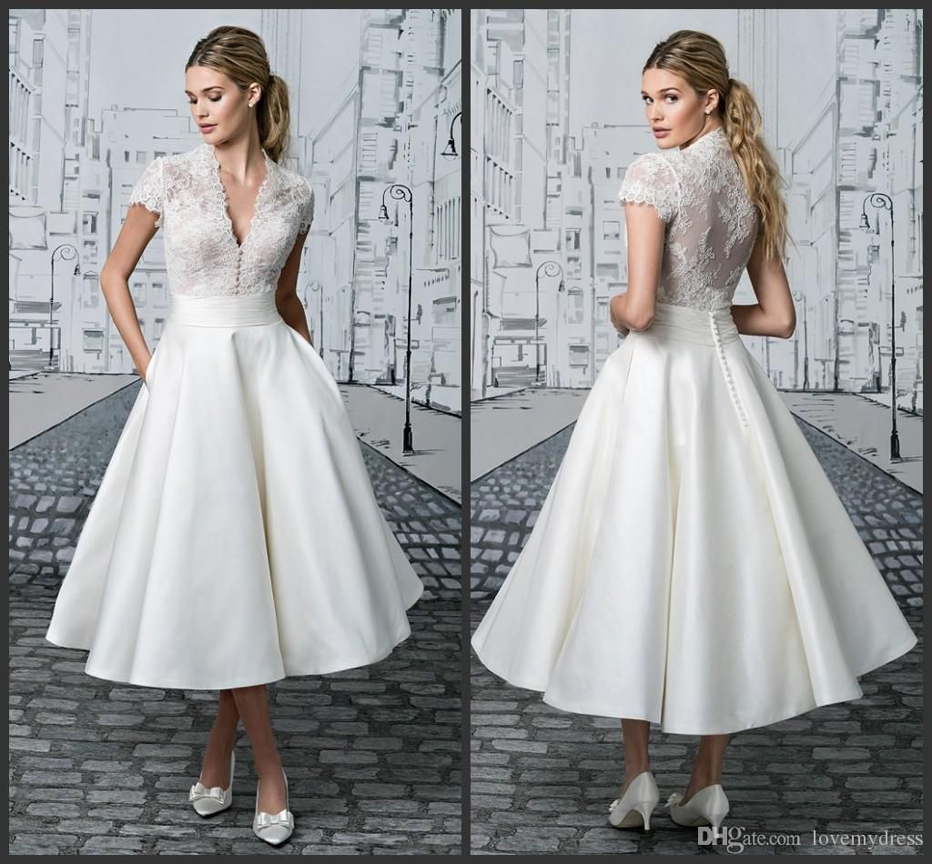 Short Wedding Dress Tea Length White Appliques Elegant
