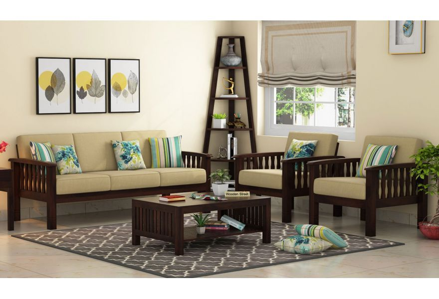 Buy Olympia Wooden Sofa 3 1 1 Set Online In India Wooden Sofa Set Wooden Sofa Sofa Set Designs