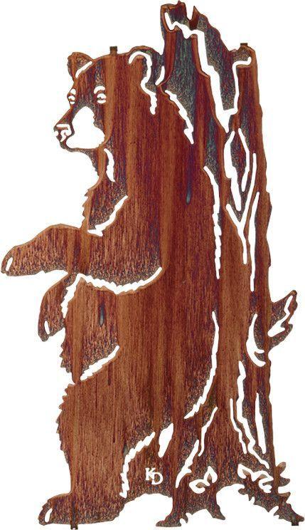 Bear against tree trunk laser cut metal wall art schrott for Tree trunk wall art