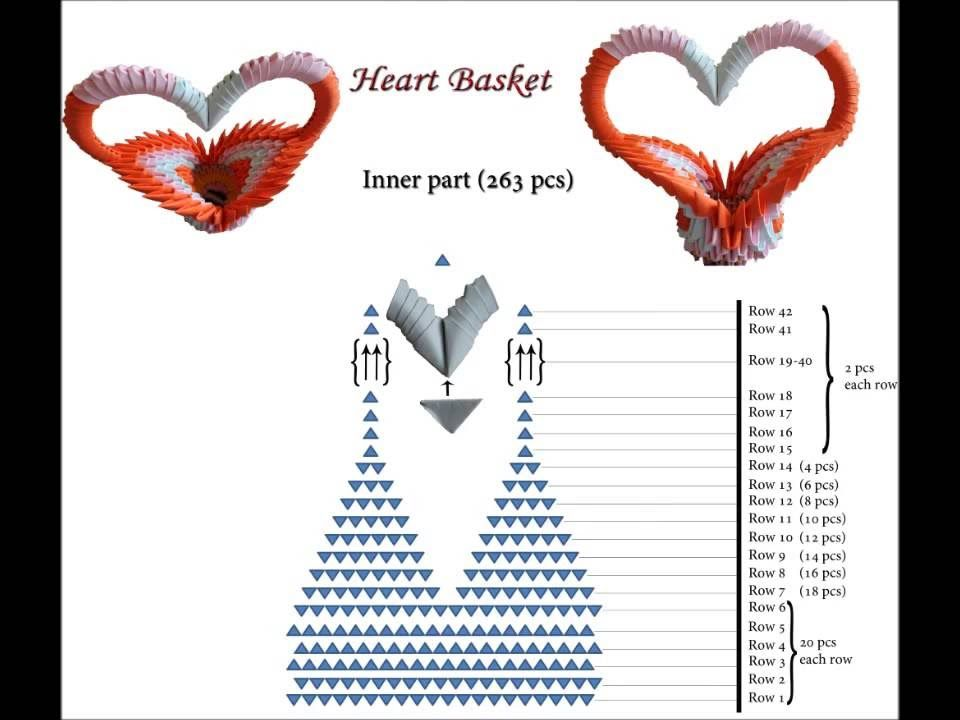 3D Origami Heart Basket Schematics Sitesgoogle