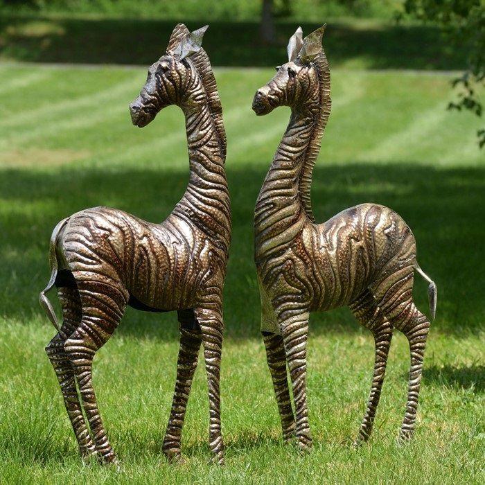 Zebra Sculpture Area Rug: Zebra Metal Outdoor Statues Set Of 2