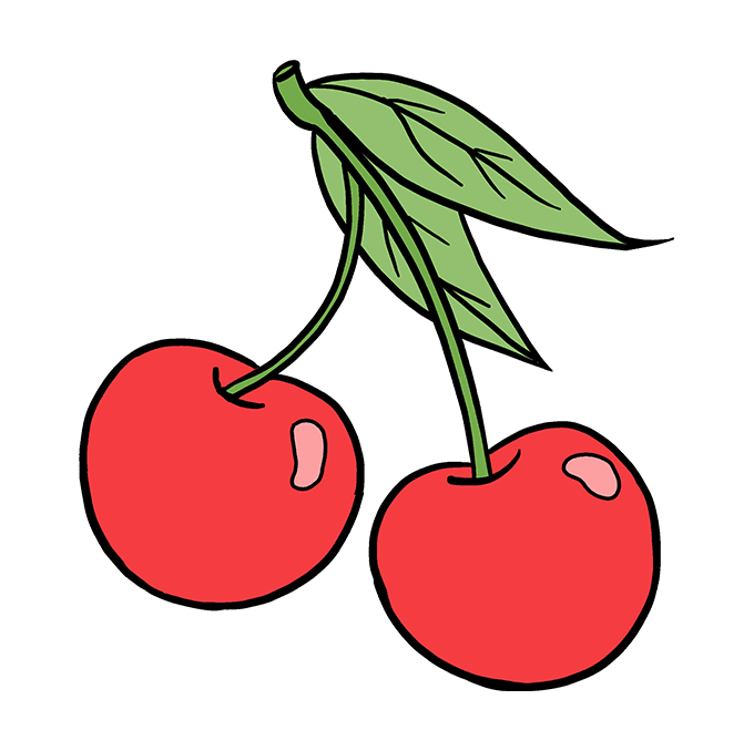 How To Draw Cherries Really Easy Drawing Tutorial Cherry Drawing Cherries Painting Easy Drawings